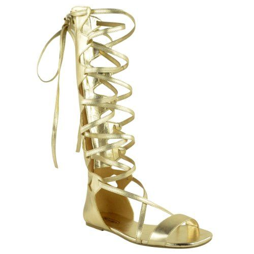 b217e7d9812bb Fashion Thirsty Womens Knee High Gladiator Sandals Flat Lace Up Strappy  Summer Shoes Size 5 -
