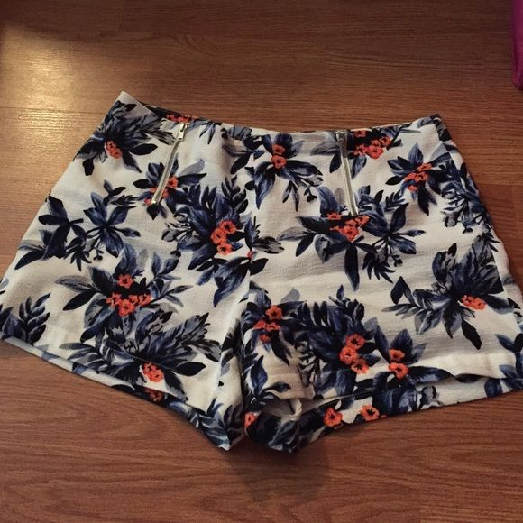 Floral high waisted shorts that zipper in the back High waisted with a zipper in the back and two small functioning zipper pockets in the front. From Nordstrom. Only wore a few times. Price is negotiable Sophie Rue Shorts