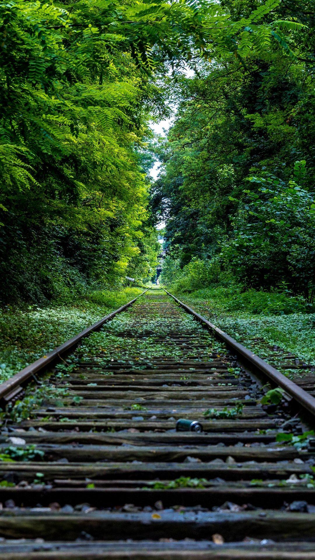 Wooden Retro Railroad Grass Trees IPhone 7 Wallpaper