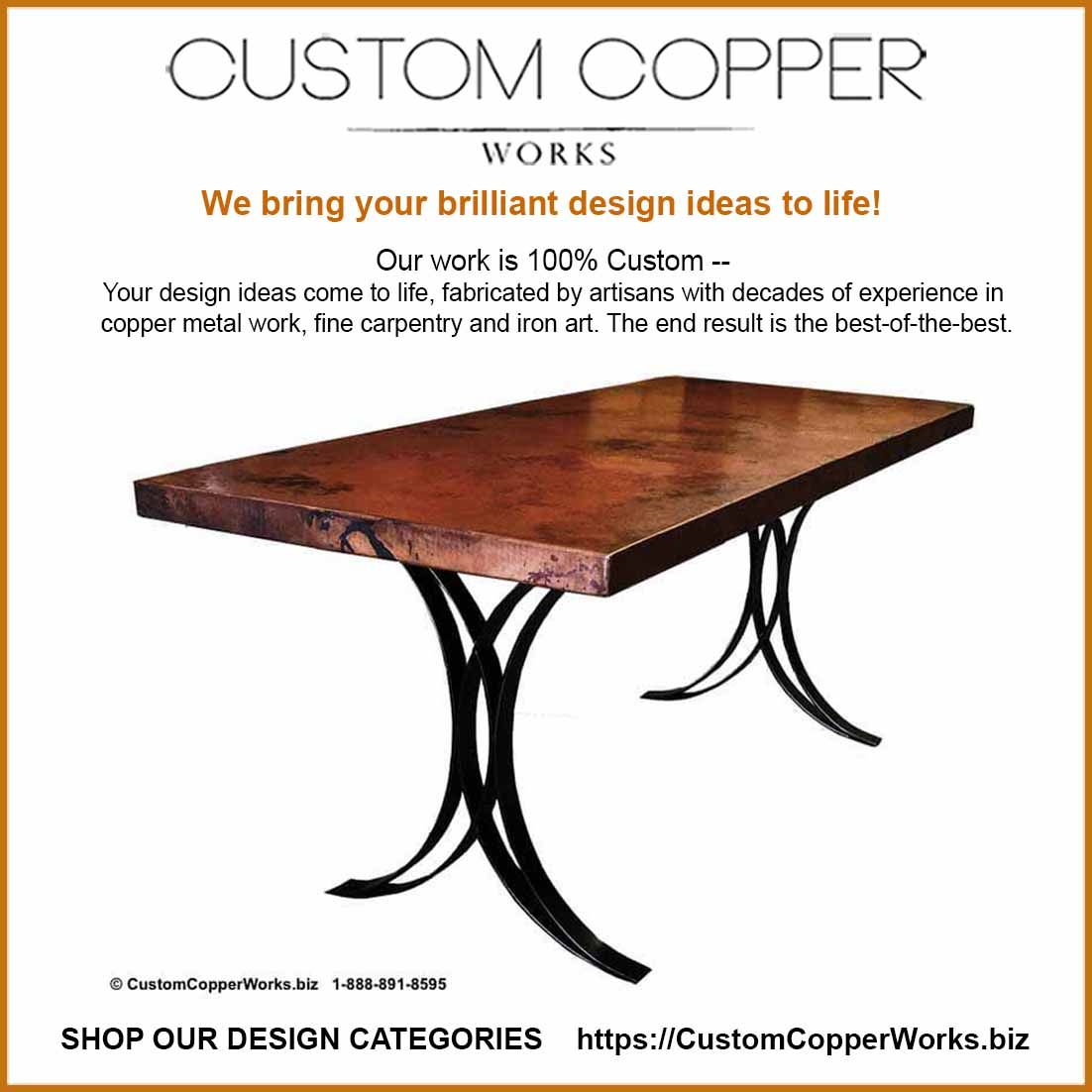 Copper Top Dining Table 72 X 30 X 2 25 The Justina Forged
