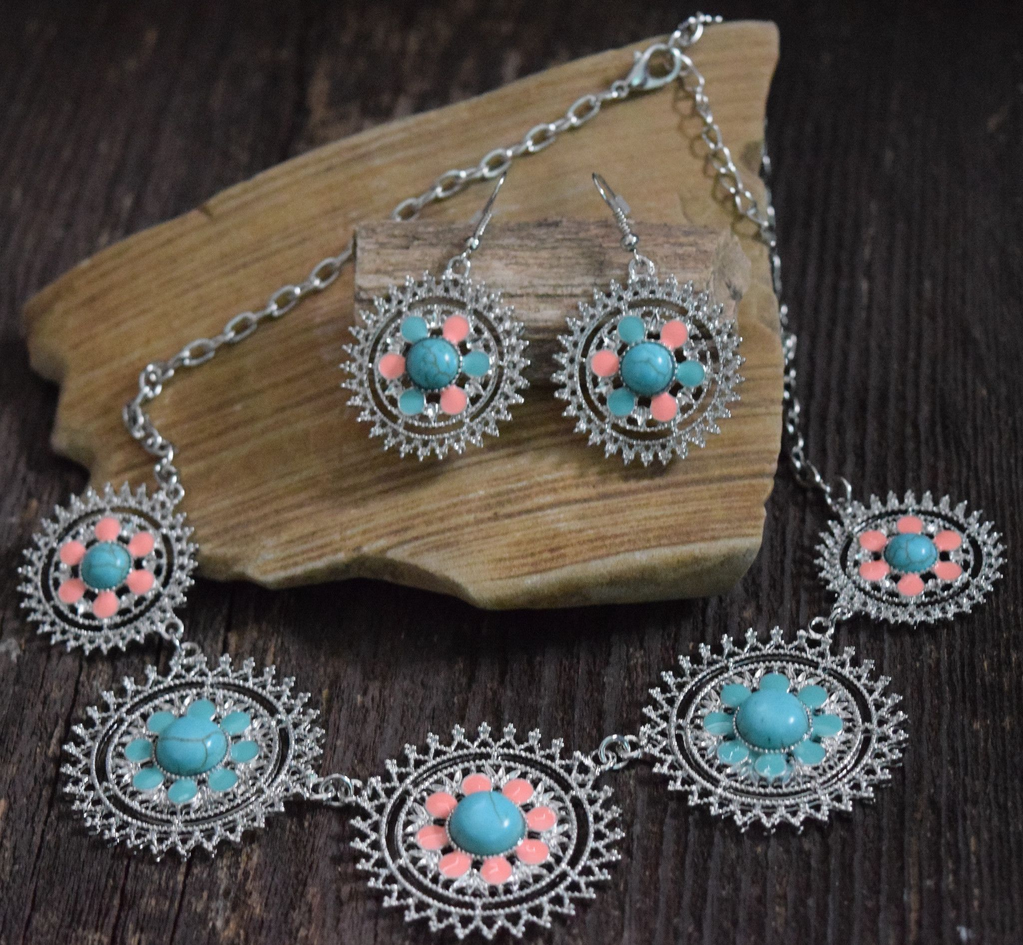 Vintage Turquoise Coral Necklace Set