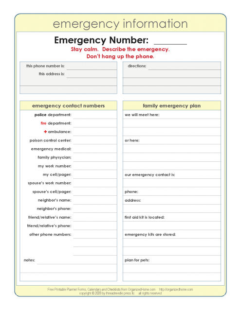 important numbers template - emergency information list i have a list like this in my