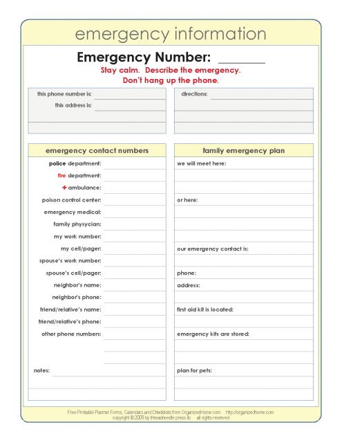 Printable   Emergency Phone Number List Template