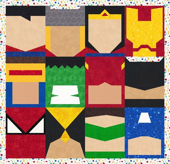 Super Heros 12 Quilt Block Patterns Superman By Popularquilt