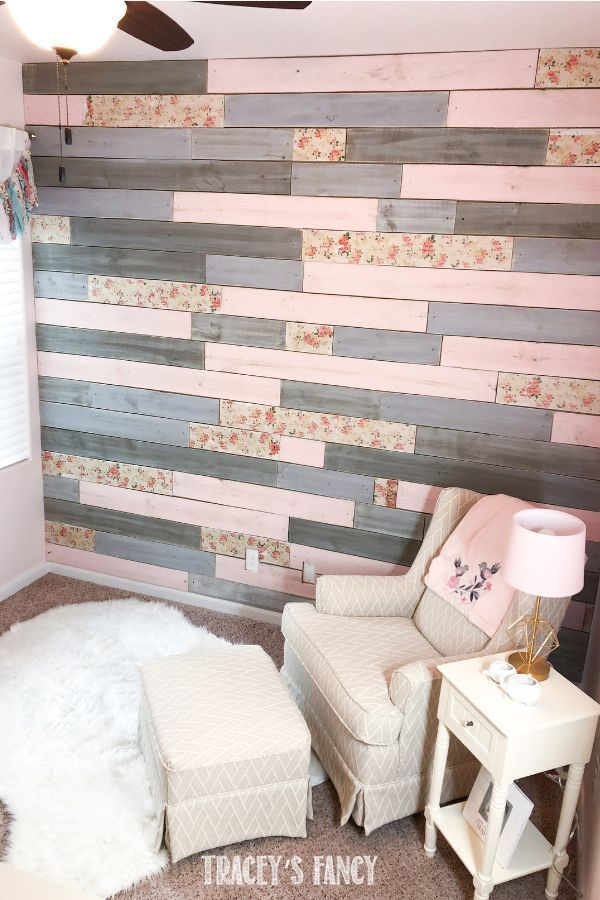 A Metallic Wood Plank Wall with a Floral Twist for a Baby Girl's Nursery images