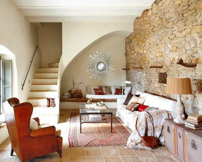 diez salones con pared de piedra piedra sal n y muchas On salones decorados con piedra