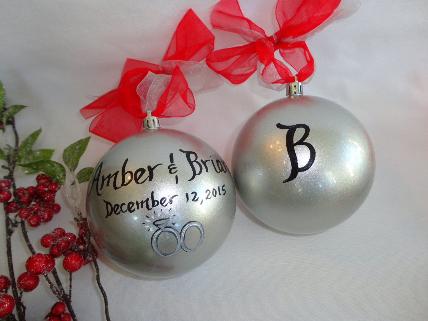 Bridal Ornaments - Wedding Favors - Hand Painted PERSONALIZED ...