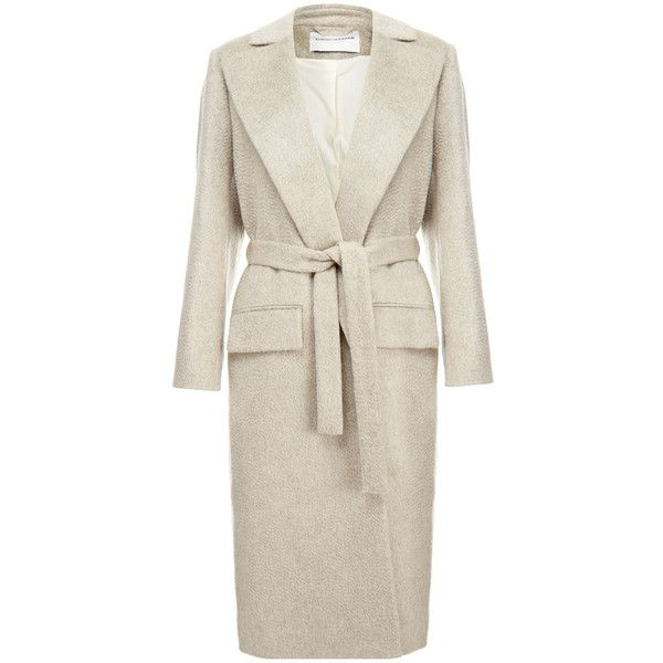 Carin Wester Frances Beige Wool-Blend Coat featuring polyvore women's fashion…