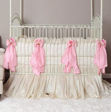 Celine Crib Bedding Linens in Pink, Silk - traditional - baby