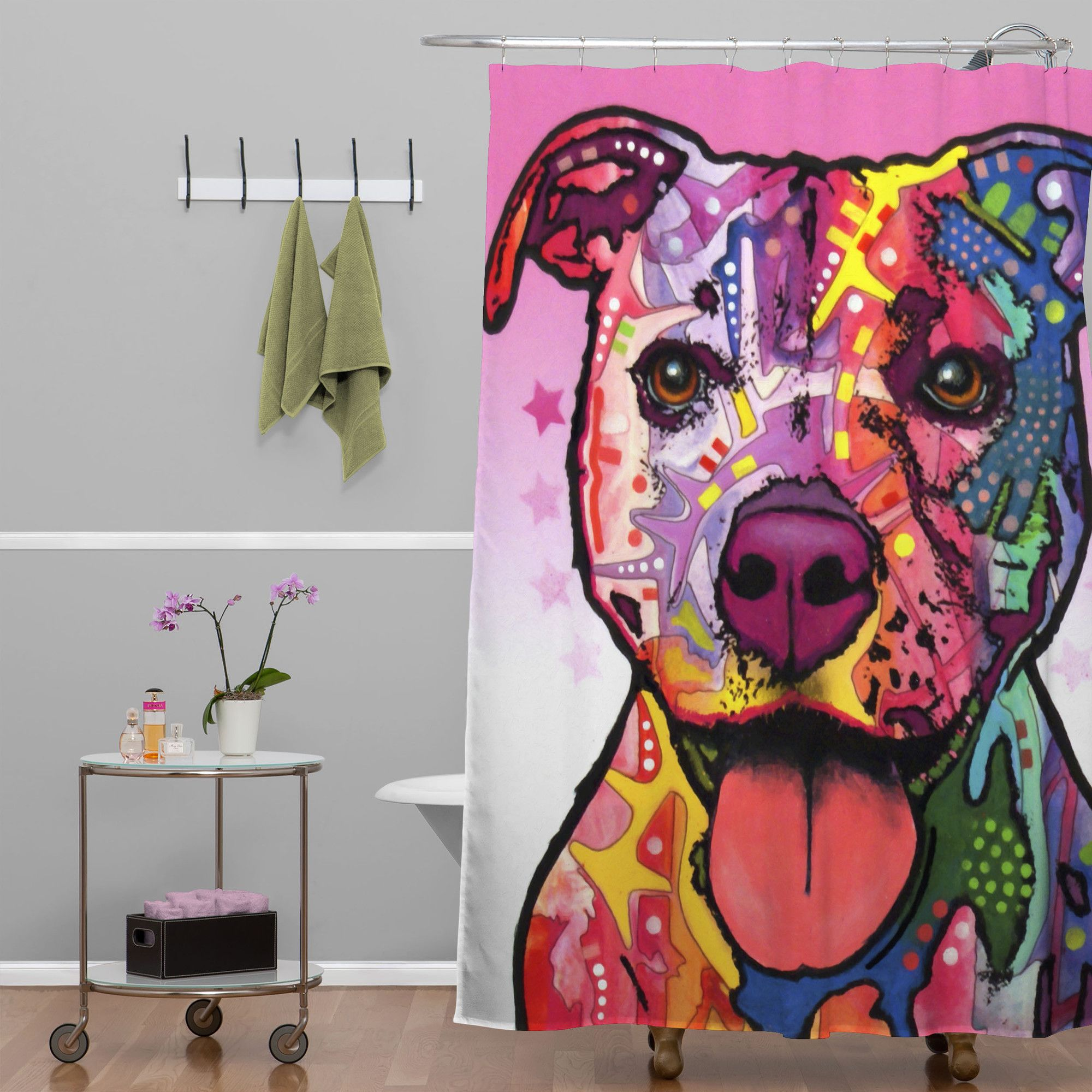 Deny Designs Dean Russo Cherish The Pitbull Shower Curtain Cat Shower Curtain Deny Designs Cool Shower Curtains