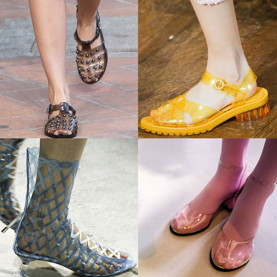 "Shoe Trend for Spring Summer 2018: ""See-through"" plastic jelly shoes."