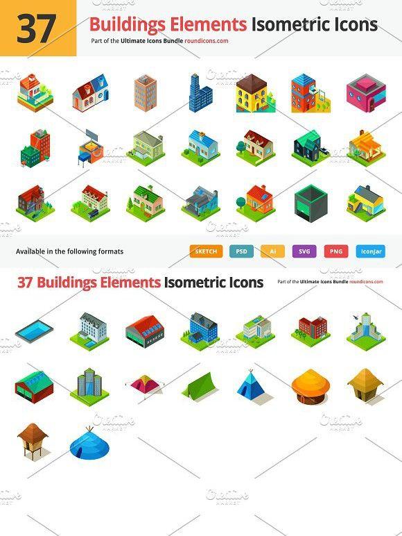 37 Buildings Elements Isometric Icon Photoshop Textures