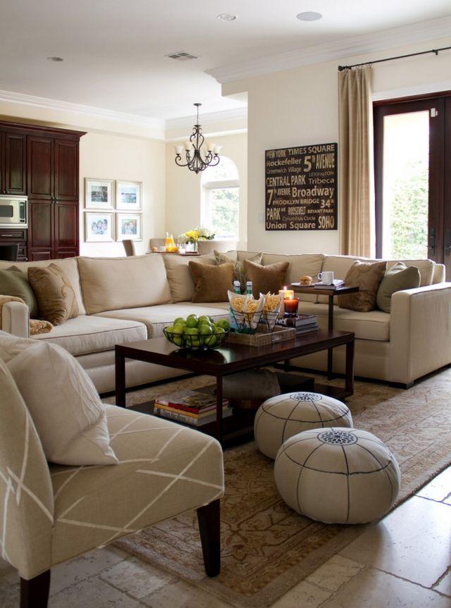 Wohnzimmer Gestaltung Beige Braun Klassisch