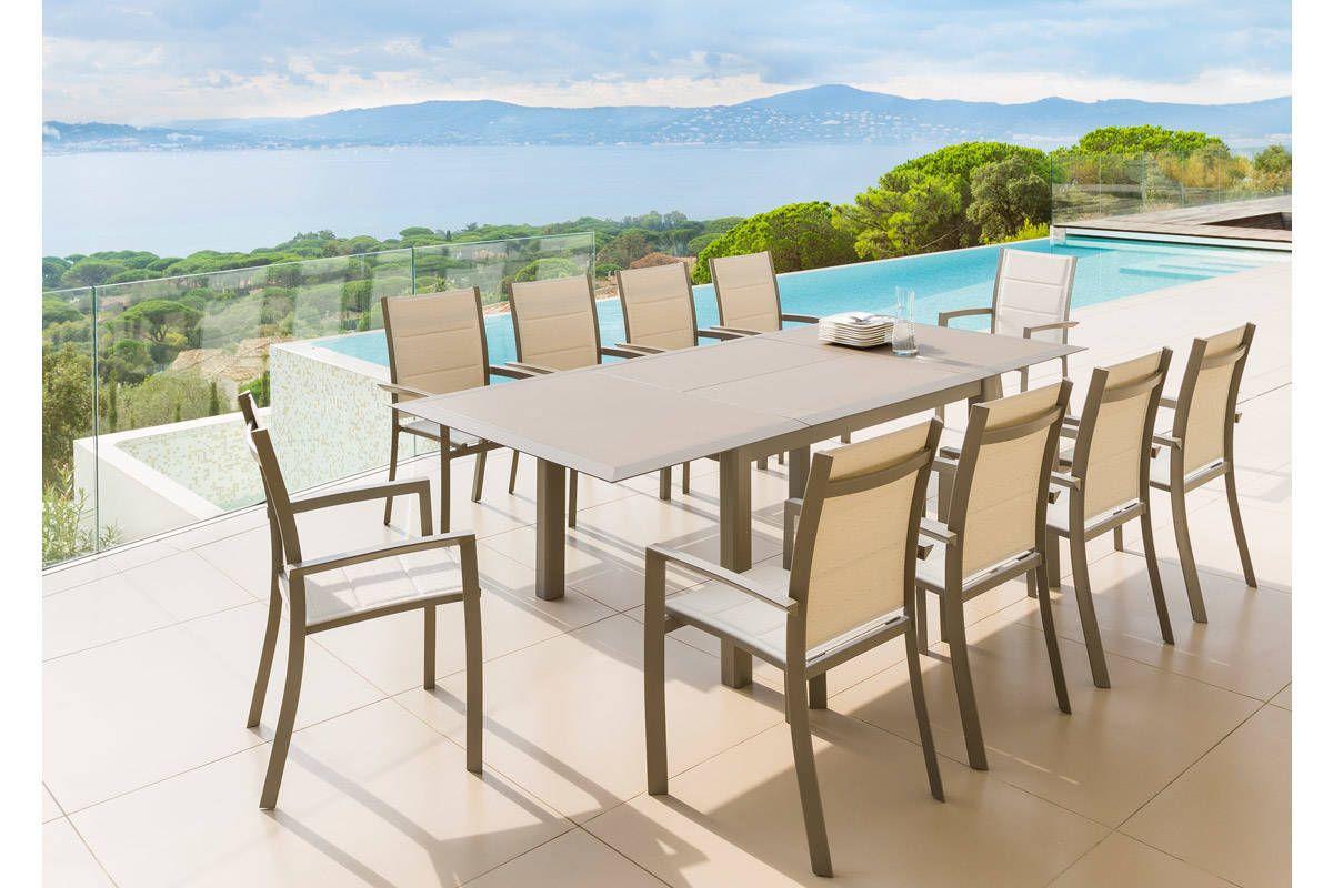 Best Table De Jardin Aluminium Et Verre Hesperide Pictures  # Salon De Jardin Table Extensible