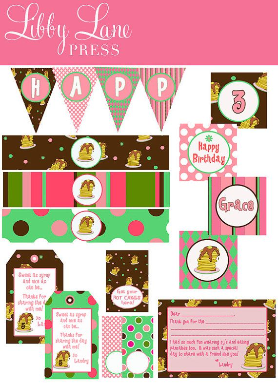 These are cute printables from Libby Lane Press...Great for a Pancake & Pajamas Party!