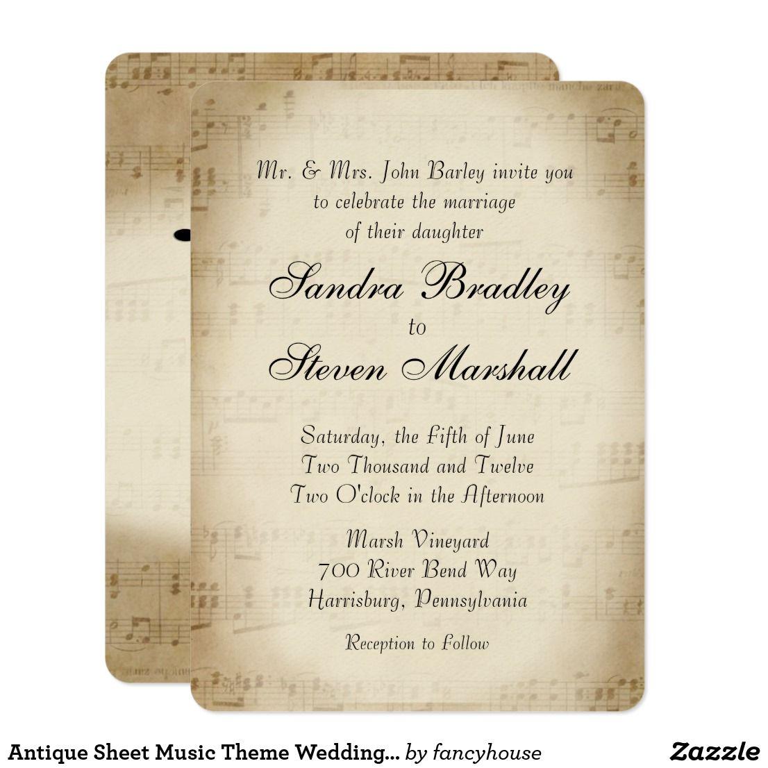 Antique Sheet Music Theme Wedding Invitation | Music theme weddings ...
