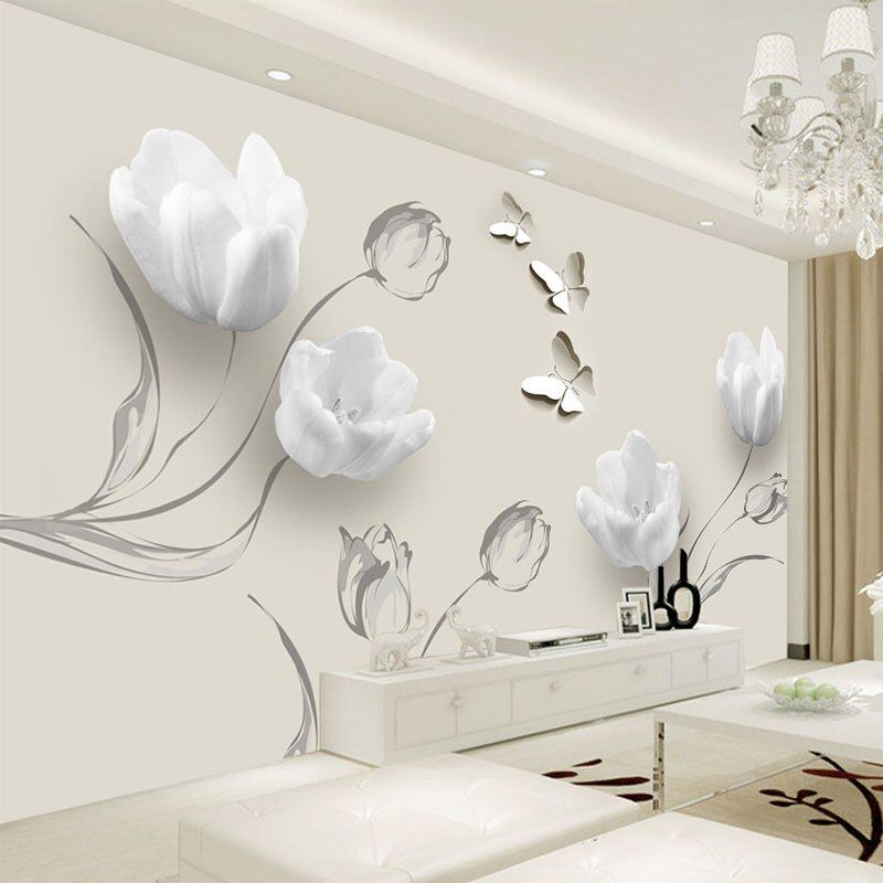 Online Shop Custom Mural Wallpaper Modern 3d Stereo Tulip Butterfly Flowers Wall Painting Fashion In 2020 Wall Stickers Living Room Rooms Home Decor Acrylic Wall Decor