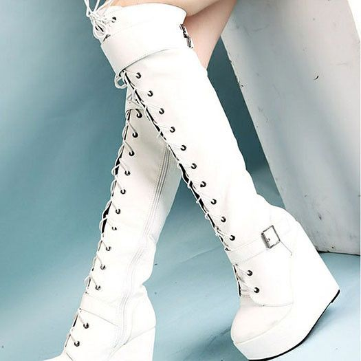 Details about  /Women Faux Leather Over the Knee Boots Winter Rabbit Fur Decorate Warm Snow Heel