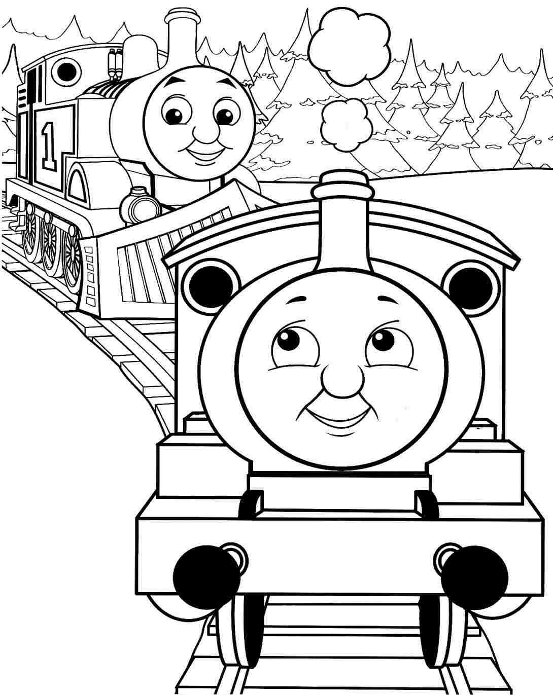 Kereta Api Sketsa : kereta, sketsa, Simple, Thomas, Train, Coloring, Pages, Hunro, Pages,, Books,, Truck