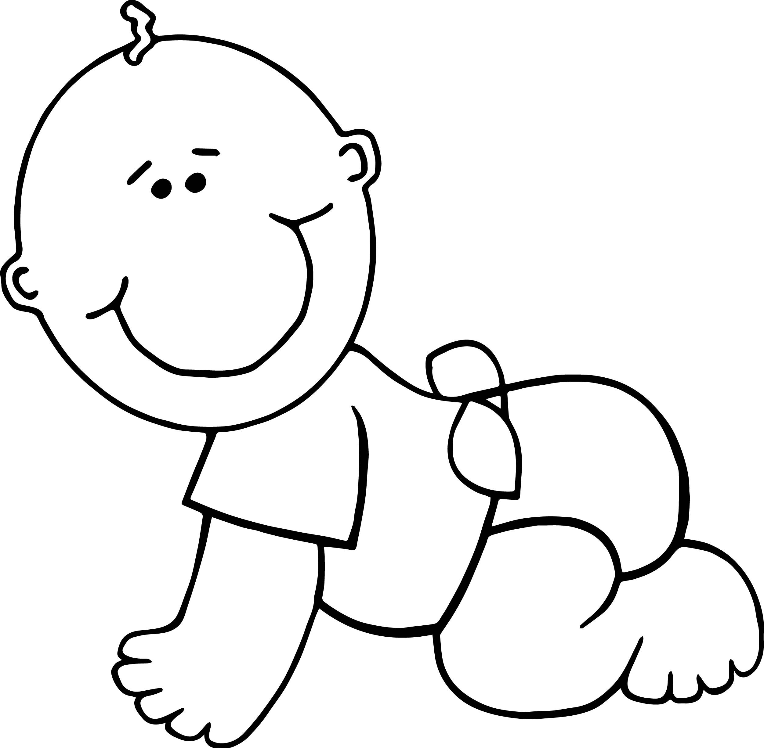 Nice Crawl Boy Baby Coloring Page With Images Baby Coloring