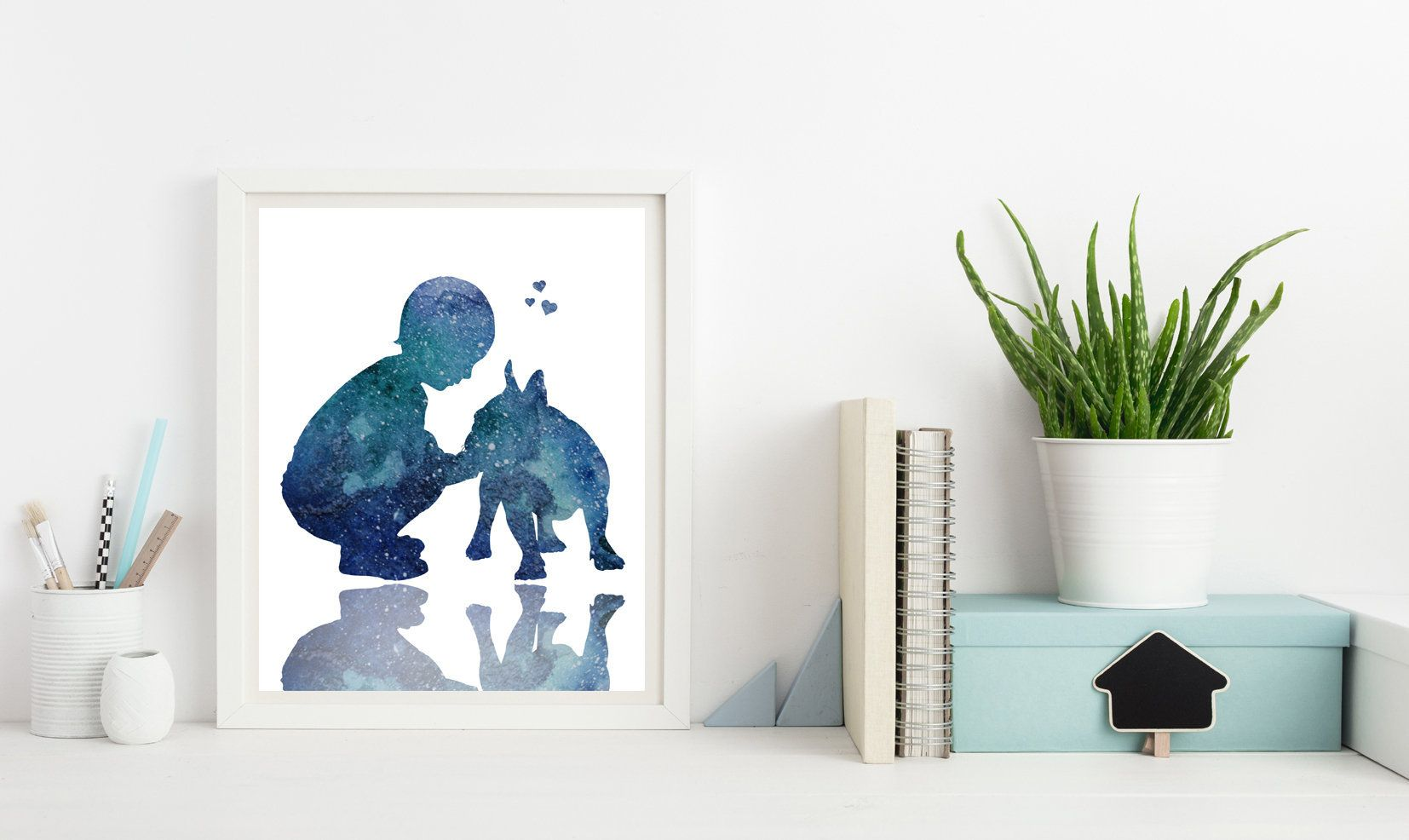 French bulldog wall decor, Boy with dog, Watercolor