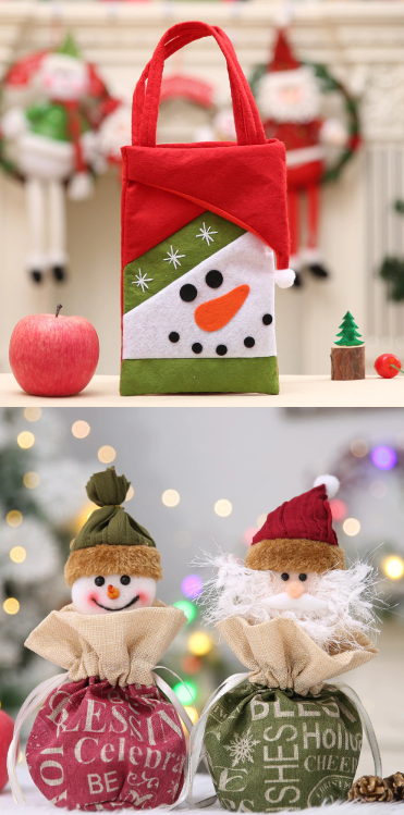 1.85  buy now 2019 Red Colorful Christmas Tree Santa Claus Snowman Pattern  Candy Bag Handbag Home Party Decoration Gift Bag Christmas Supplies  toys   office ... ff083c18555ba