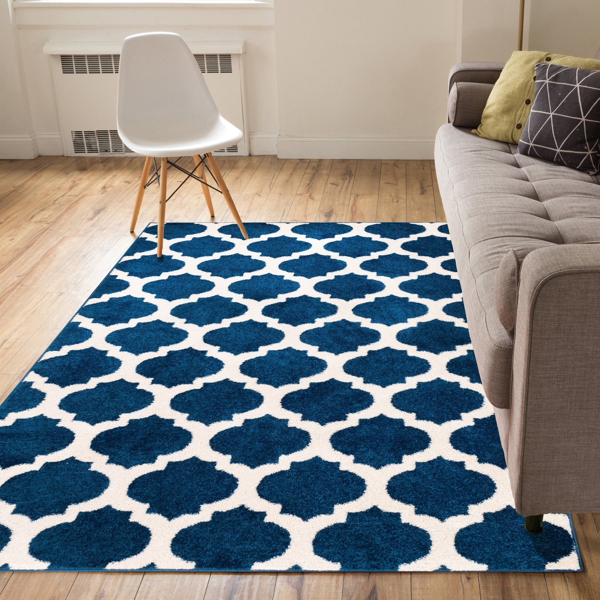 Rubino Contemporary Trellis Blue Area Rug Blue area rugs