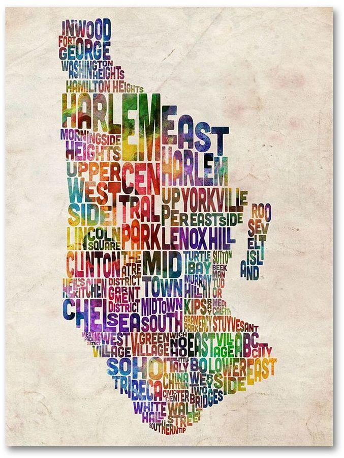 Trademark Fine Art 32 X 22 Manhattan Typography Map Canvas