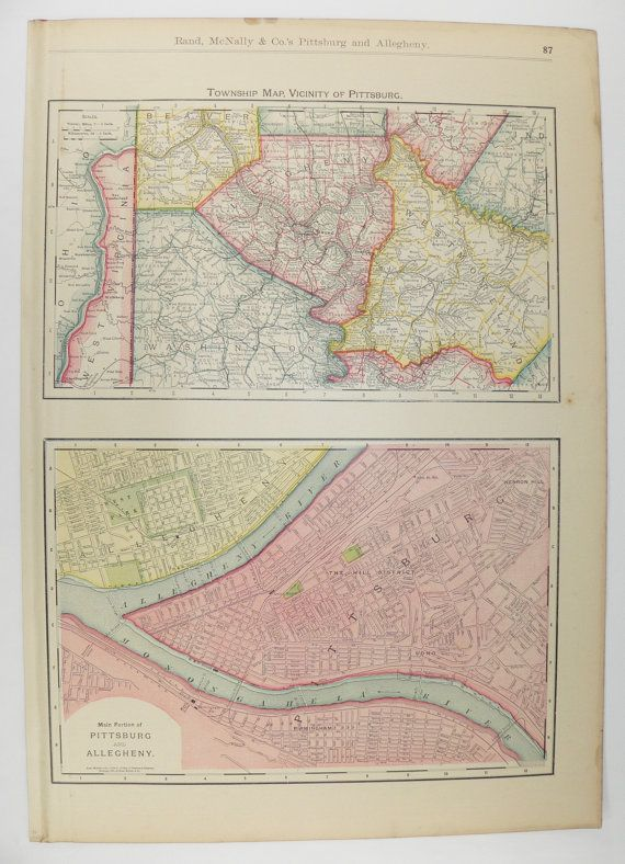 Vintage Pittsburgh PA Map 1903 Antique Map of Pittsburgh City Street ...