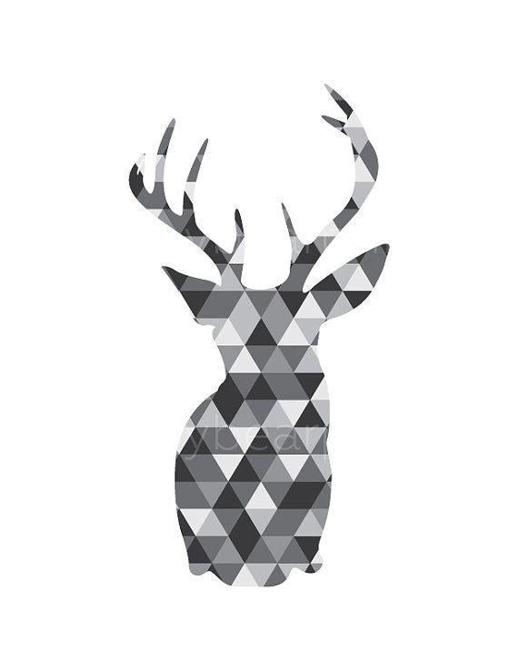 Monochrome Deer Geometric Deer Monochromatic door happybearprints