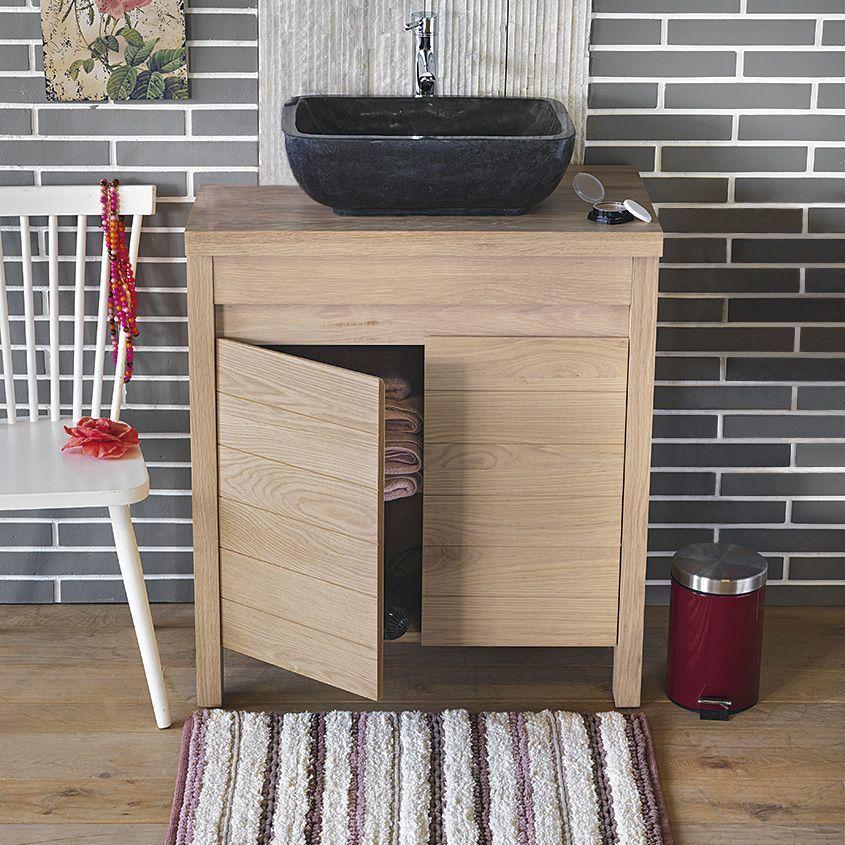 Meuble sous vasque en chêne Chêne Naturel - Native - Les meubles - meuble salle de bain en chene massif