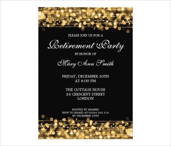 Elegant Chalkboard Retirement Party Invitation Template - free dinner invitation templates