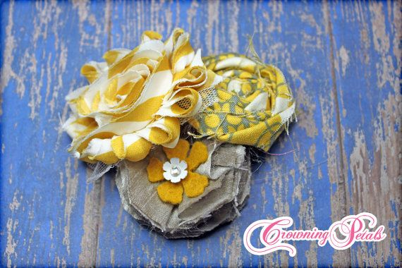 Mustard Fabric Flower Headband Hair Bow Yellow by CrowningPetals, $17.50