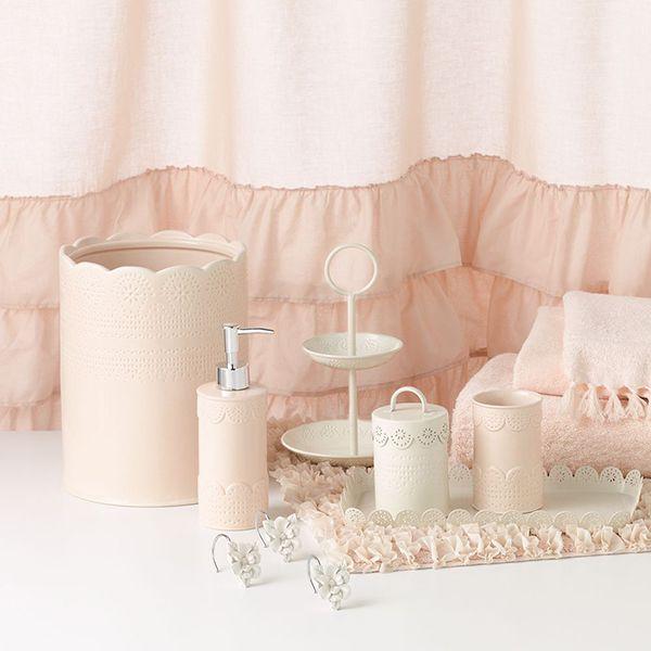 Beau LC Lauren Conrad For Kohlu0027s Pink U0026 White Lace Bath Set
