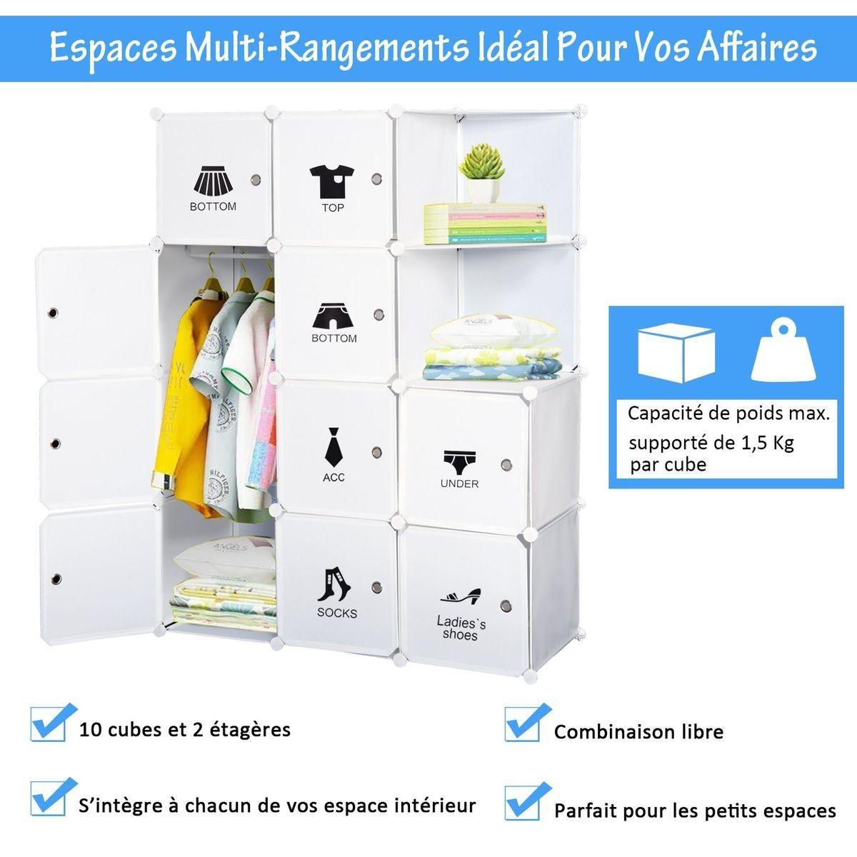 Armoire Penderie Cube Multi Rangements 111l X 47l X 145h Cm Armoire Penderie Rangement Et Espaces De Stockage