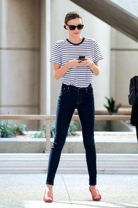 64ad19204040 Classic Stripes – model miranda kerr, striped t shirt, skinny jeans, red  heels, street style