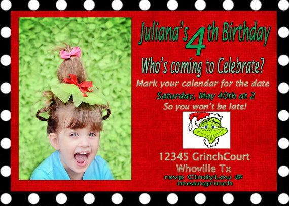 Grinch themed birthday invitation by JustKarding on Etsy, $14.00