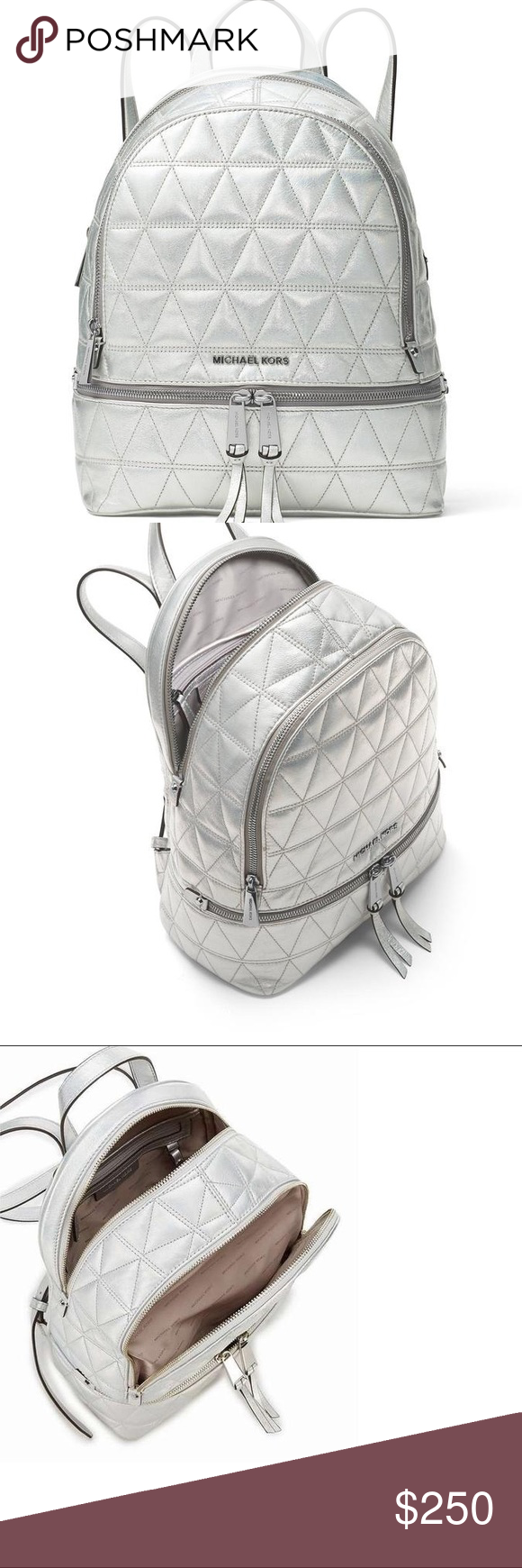 2076172b5e9f Michael Kors Rhea Medium Metallic Leather Backpack Silver iridescent metallic  quilted leather. New with tags and dust bag. Approximately 12.5