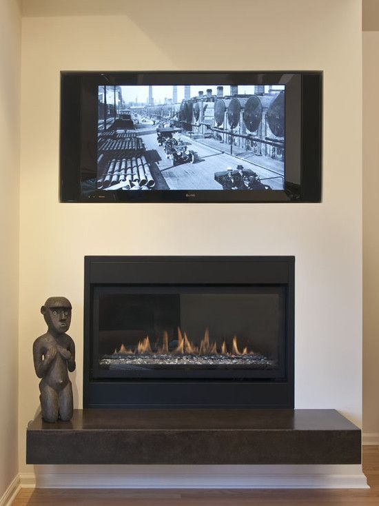 Spaces Fireplace Under TV Design Pictures Remodel Decor and