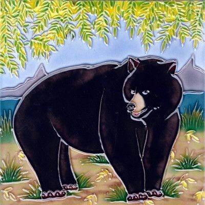 Continental Art Center Black Bear with Tree Tile Wall Decor