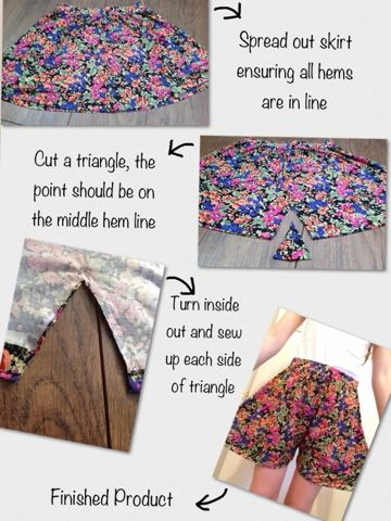 Kyra: DIY: Skirt to Shorts [I LOVE this idea! Just have to be careful not to give yourself diaper butt or camel toe when you make the legs]