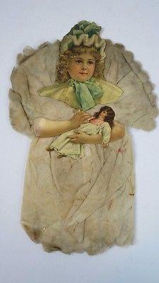 Antique Victorian Spun Cotton Little Girl w/ Doll Christmas Tree Ornament