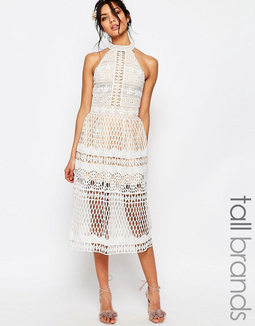 Image of jarlo tall high neck allover cutwork lace prom skater