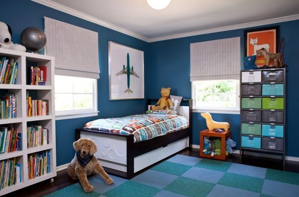 Boys Bedrooms Designs The Mix Of The Locker Cabinet Checkerboard Rug And Bold Blue