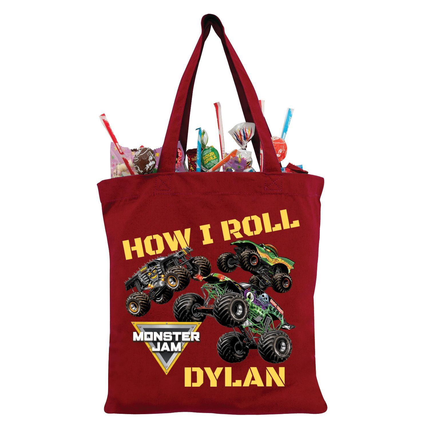 Monster Jam How I Roll Red Personalized TrickorTreat Bag