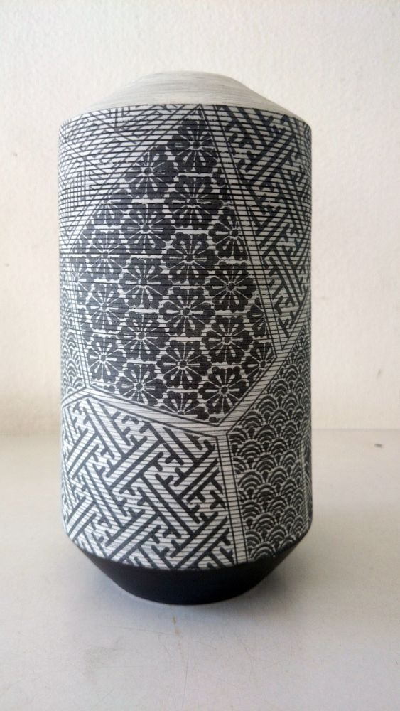 White Clay Pottery Vase Japanese Pattern Nature Style  #Dhanabadee #Nature