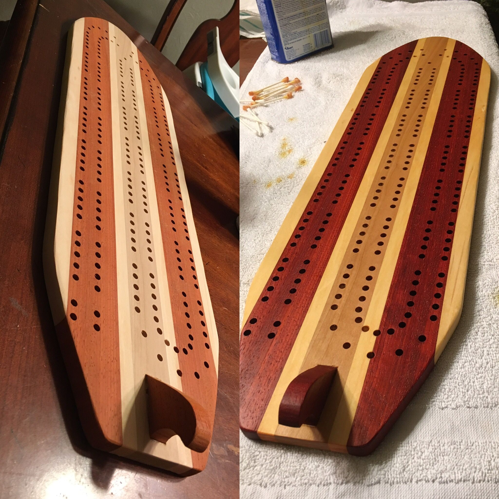First multi-wood project...old school surfboard cribbage board ...