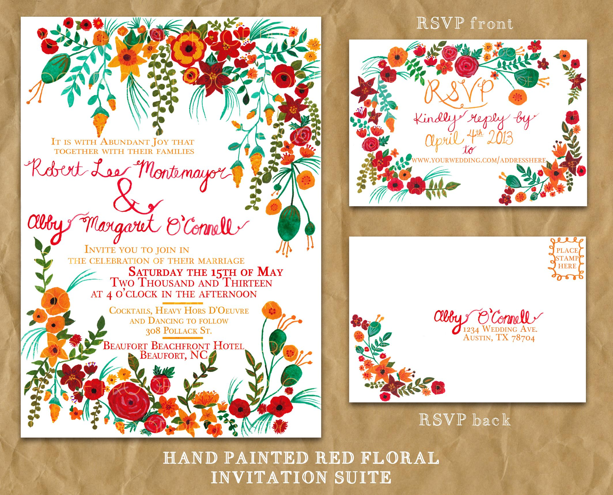 Painted Wedding Invitations: Hand-painted Floral Wedding Invitation