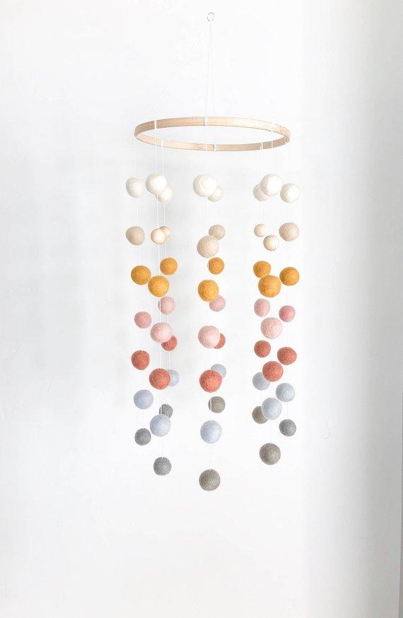 Handmade Ombre Felt Ball Mobile