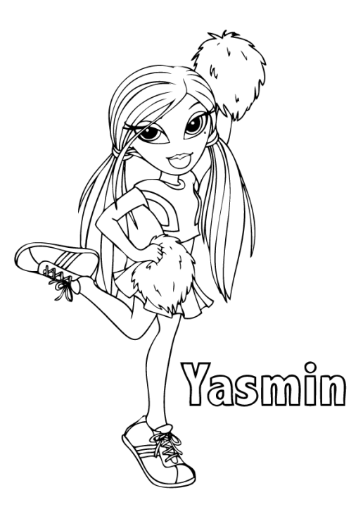 bratz coloring pages yasmin and her peter | bratz coloring pages yasmin free printable for girls ...